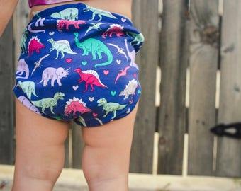 Baby dinosaur shorts, bloomer shorts, bummies, shorties, dinosaur shorts, toddler shorts, dinosaur party