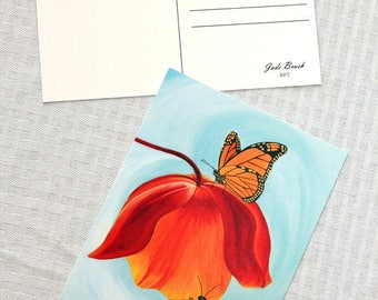 Oil Painting 5x7 Postcard - Monarch Butterflies on a Flower in a Swirling Teal Aquamarine Sky