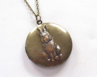 Rustic Rabbit Locket, Antiqued Brass Bunny Locket Necklace, Brass Rabbit Locket, Round Dark Brass Locket, Primitive Pendant Necklace, Easter