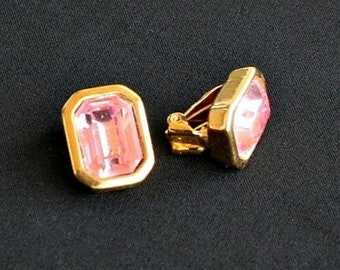 Ear clips, pink, gold-plated  (vintage)
