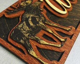 Wood Laser Cut and Laser Engraved Moose Name Sign
