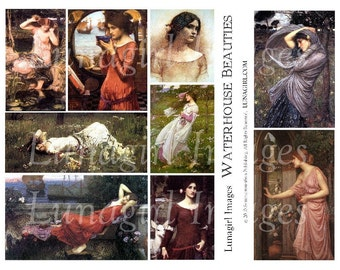 WATERHOUSE ART digital collage sheet, Renaissance medieval women girls ladies Pre-Raphaelite beauties goddess art, vintage ephemera DOWNLOAD