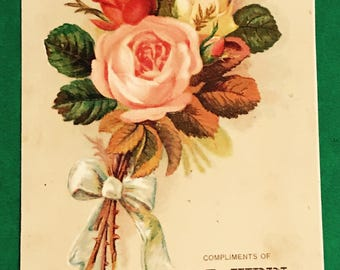 Victorian Trade Card 1800s, Pink, Red And White Flower Bouquet, J D Winn Shoes, Antique Paper Collectible