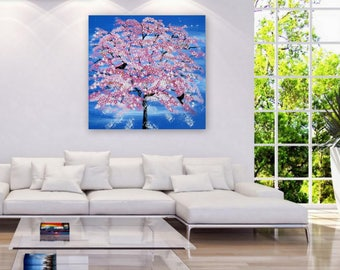 "huge tree painting, large tree painting, large painting, large paintings, cherry blossom painting, large wall art, huge 36"" x 36"", pink"