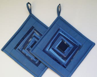 Blue Quilted Pot Holders  Potholders Quilted  Pads  Patchwork Potholders  Set of 2
