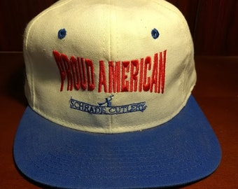 Vintage Proud American red white and blue snapback hat