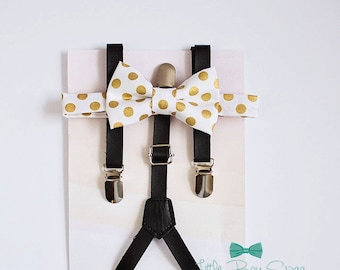 Boys Bow Tie Leather Suspenders Set, Bow Tie Suspenders, Ring Bearer Outfit, Boy Birthday, Baby Boy Suspenders, Boy Cake Smash, Gold Wedding