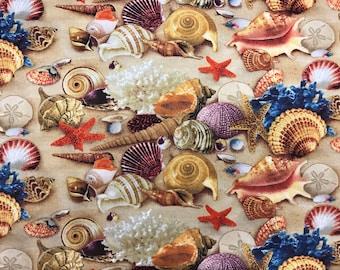 Multicolored seashells fabric, beach fabric, sand & seashells in the sand, seaside fabric, ocean, beach, nautical
