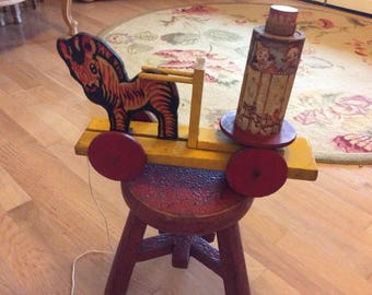 Antique Wood Pull Toy, Rotate Mechanism, Merry-Go-Round, Kids, Clowns, Zebra, Rare!