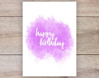 Happy Birthday Card Instant Download | Purple Watercolor | Printable | Simple B-Day Card | Girl Birthday Card | 5x7 | Script Font | Teen |