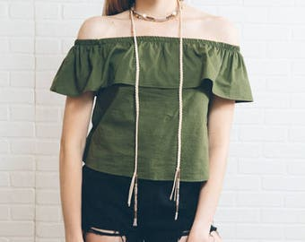 Cayne Wrap Beaded Necklace | Tan