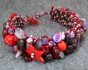 Beaded Cuff Bracelet - Embellished Square Stitch - Red and Purple by randomcreative
