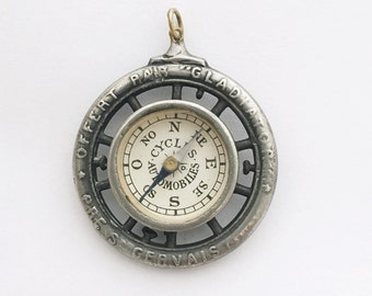 Antique Compass Pendant Genuine French 'Cycles Gladiator' Advertising Compass Charm