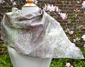 Lilac and Green Hand Dyed and Painted Cotton Voile Scarf