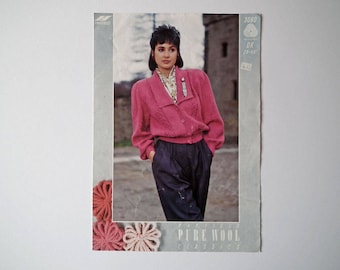 Original Hayfield 3080 Vintage Knitting Pattern, DK Lady's Cardigan, Handknit Pattern, Size 28-40 inch, 71-102 cm, Long Full Sleeves, Collar