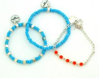 Bracelets set of three, green bracelets, turquoise bracelets, elastic bracelet, chain bracelet