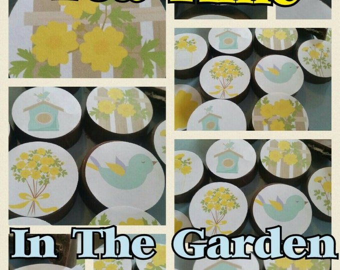 24 sassy yellow pretty girl flower floral shabby chic dainty party image chocolate covered oreos or chocolate lollipops