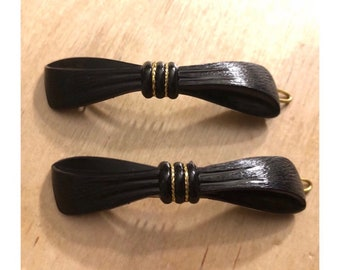1970's Deadstock Hair Barrettes, Vintage Bow Barrettes, Black Bow Bsrrettez, French Hair Accessories, Absolutrly Gorgeous!