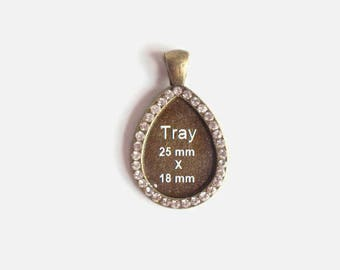 1 Tibetan Drop Style Cabochon Pendant Setting,  Jewelry  Making Supplies, Antique Bronze plated, with Rhinestones around edge, Nickel FREE