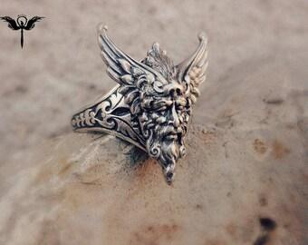 Mythological silver adjustable ring. fantasy gothic jewelry