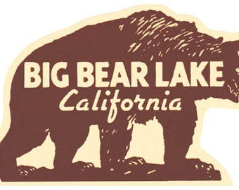 Vintage Style Big Bear Lake California  Travel Decal sticker