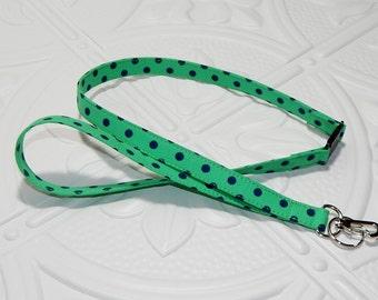 Green Polka Dot Breakaway Safety Lanyard - Badge Holder - Key Lanyard - Teachers Gifts
