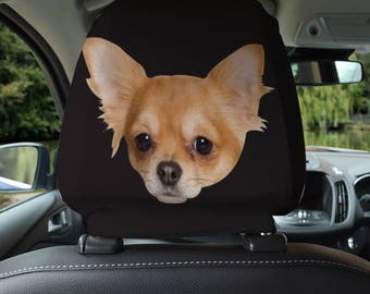 Chihuahua Dog Design Car Seat Headrest Cover 2 Pack Made In Yorkshire