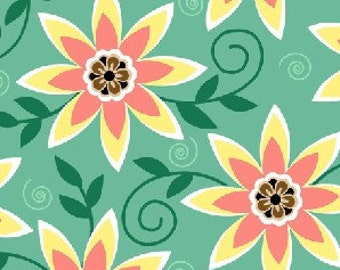 She Da Floral in Turquoise by Dana Brooks for Henry Glass - 1 Yard