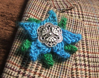 Green & Turquoise Sunshine Stars Floral Brooch Corsage Pin
