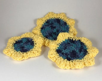 Three Piece Blue and Yellow Scrubby Set