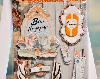 BoBunny - Bella Rosa - Layered Chipboard Stickers Glitter Accents - Be Happy