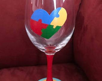 Autism Puzzle Hand Painted Glass