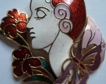 Vintage Brooch/Pin 1980s Red Cloisonne Deco Lady