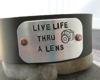 Camera Bracelet, Live Life Thru A Lens, Photography Bracelet, 1 inch leather cuff, customizable, Photographer gift, MADE TO ORDER