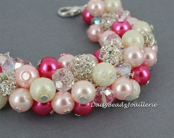 Hot Pink Bracelet Jewelry Gift for Her  Pink Cluster Bracelet Shades of Pink Bracelet Pink Pearl Bracelet Beaded Bracelet Gifts