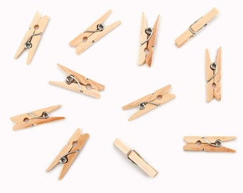 Mini Spring Clothespins 50 pieces - 1 Inch Mini Clothespins - Scrapbook Clothespins - Embellishing Clothespins - Crafting Clothespins  7-124