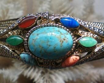 Egyptian Revival Multi Stone Clamper Bracelet - 5881