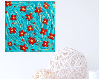 Textured Painting Turquoise Painting with Red Flowers  Textured Canvas Wall Art Abstract Art Wall Decor Palette Knife Painting  sc 1 st  Etsy & Textured canvas art | Etsy