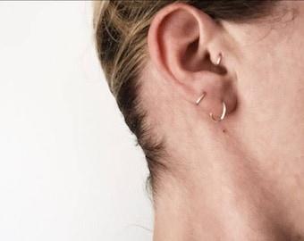 Endless Hoops - tiny hoop earrings, 20 gauge cartilage hoops, huggers, huggies in silver, gold filled, or rose gold filled in three sizes
