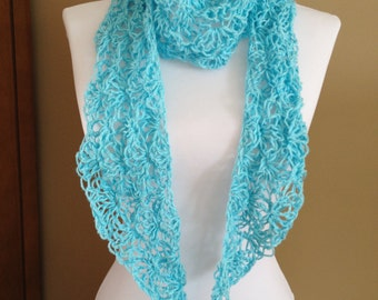 Crochet lacy hemp scarf