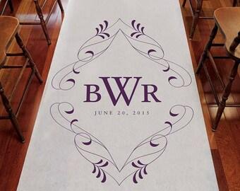 Flourish Monogram Personalized Aisle Runner Wedding Ceremony Decoration