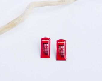 London phone booth earrings / London studs / Red phone booth studs / Red telephone booth studs / London jewelry / London gift idea