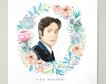 Fox Mulder X-Files // portrait print, watercolor