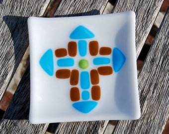 Cross Dish Turquoise Blue and Brown Fused Glass Christian Gift Easter