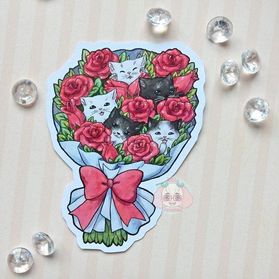 Sticker Kitten Bouquet kawaii rose roses cat