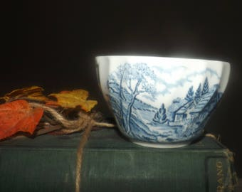Vintage ( early 1990s) Churchill China England The Brook Blue open sugar bowl. Blue-and-white landscape scene. Minor flaw (see below).