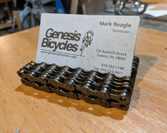 Recycled bicycle chain block Business card holder