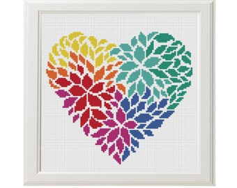 Flower heart cross stitch pattern - Love Cross Stitch Pattern - Instant Download - Love Heart Colors  - gift for her - Geometric Needlepoint