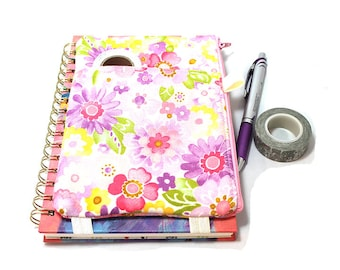 Journal Pouch Planner Pouch Pencil Pouch Planner Band Planner Accessory Bag - Pink and Purple Watercolor Flowers 9301