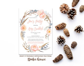 peach hens invites, floral crown hens, hens invitations, boho hens party, hens party invites, bridal kitchen tea invites, feathers invites